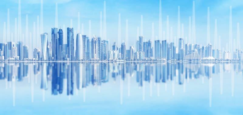 Horizonte urbano moderno Comunicaciones globales y establecimiento de una red Comercio electrónico y e-actividades bancarias foto de archivo