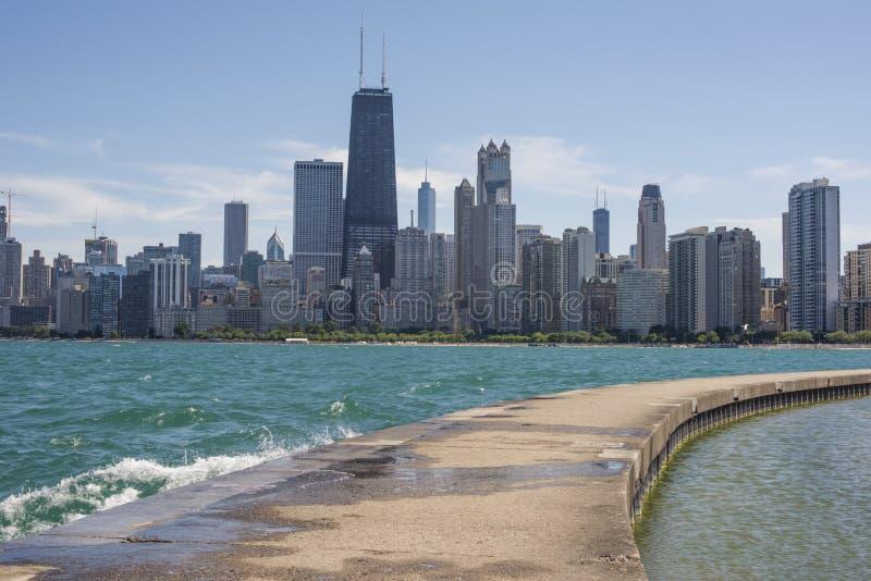 Horizonte y el lago Michigan, Chicago, IL, los E.E.U.U. de Chicago foto de archivo libre de regalías