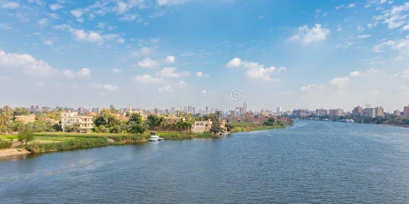 Horizonte y el río Nilo, Egipto de El Cairo fotografía de archivo libre de regalías