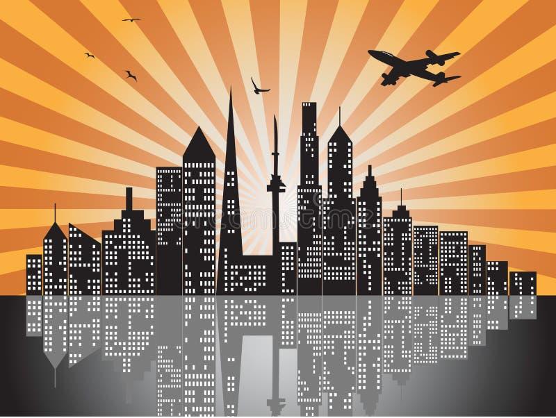 Horizontes de la ciudad de la puesta del sol libre illustration