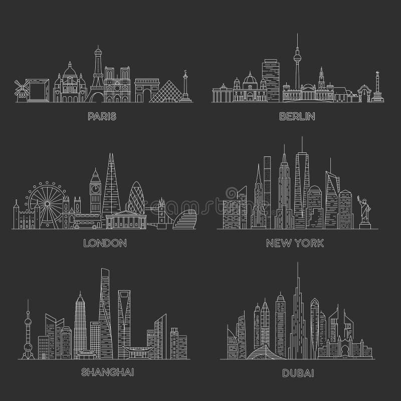 Horizontes de las ciudades Ilustraci?n del vector stock de ilustración