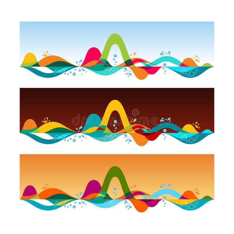 Horizontes tropicais - grupo de bandeiras horizontais Molde do vetor mim ilustração stock