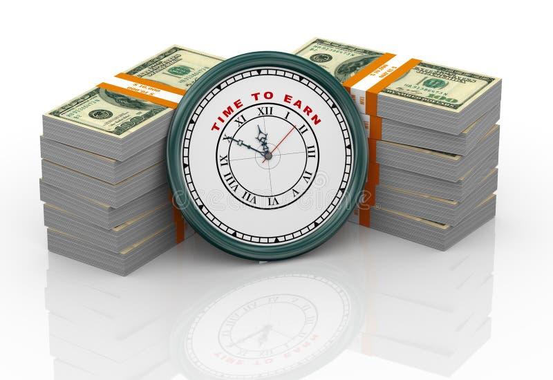 horloge 3d et billets d'un dollar illustration stock