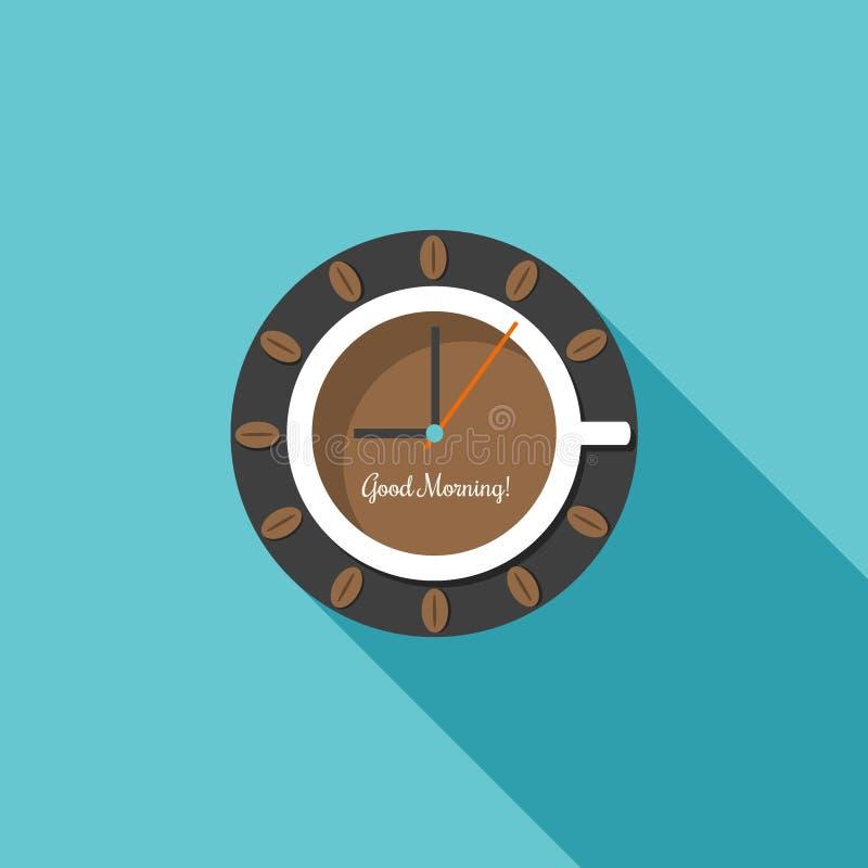 Horloge abstraite, faite de tasse de café Scène démodée de matin : machine à écrire antique, cuvette de café frais, contrat d'aff illustration stock