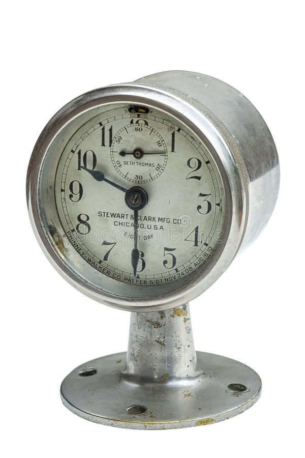 Horloge antique d'automobile photo stock