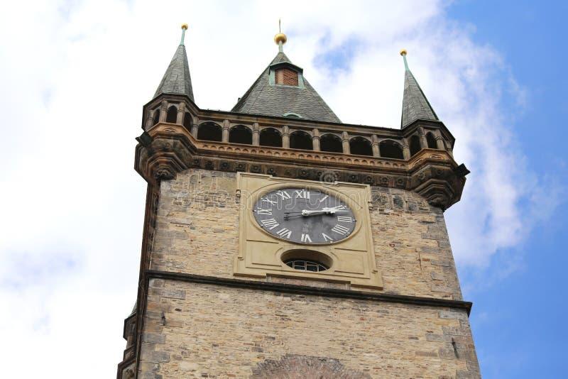 Horloge antique de Prague de la tour médiévale dans la place principale de photographie stock