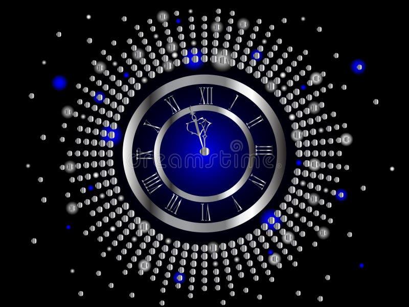 Horloge argentée d'an neuf illustration de vecteur