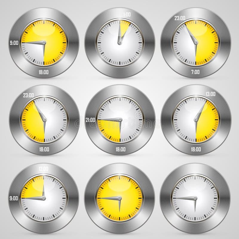 Horloge avec l'ensemble de groupe date/heure illustration stock
