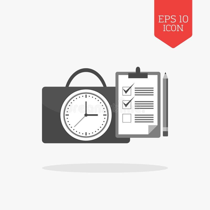 Horloge avec l'icône de serviette et de liste de contrôle Concept de gestion du temps illustration de vecteur