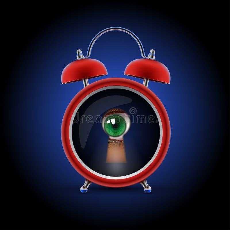 Horloge avec l'oeil de trou de la serrure illustration libre de droits