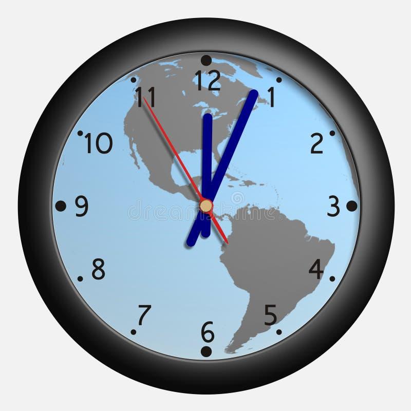 Horloge avec le bkg de globe de la terre illustration libre de droits