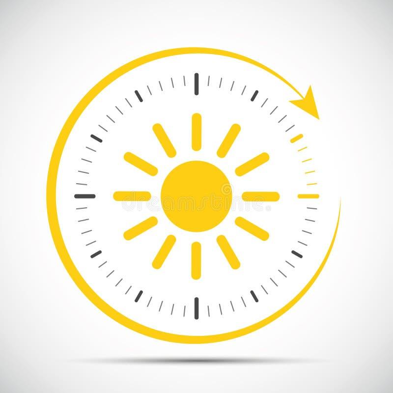 Horloge avec le changement d'heure d'été du soleil illustration stock