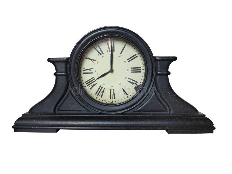 Horloge brune en bois antique de vintage de table avec les chiffres romains photos libres de droits