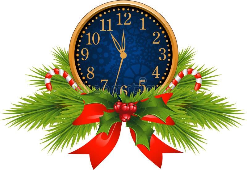 Horloge décorée (réveillon de la Saint Sylvestre) illustration de vecteur