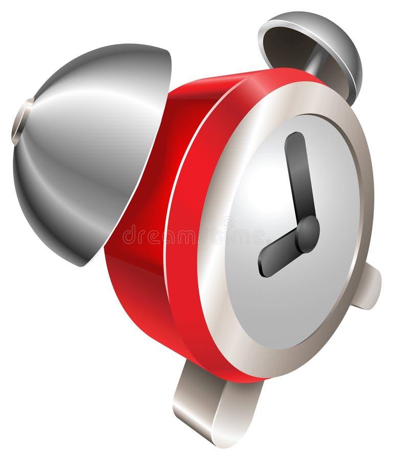 Horloge d'alarme brillante rouge d'enfoncement illustration stock