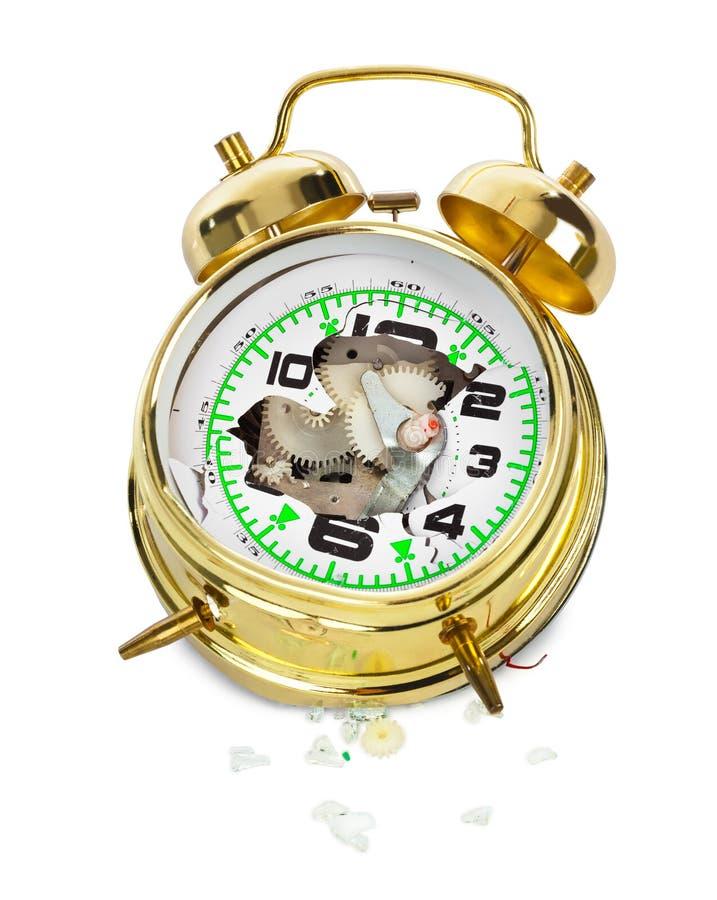 Horloge d'alarme cassée photographie stock