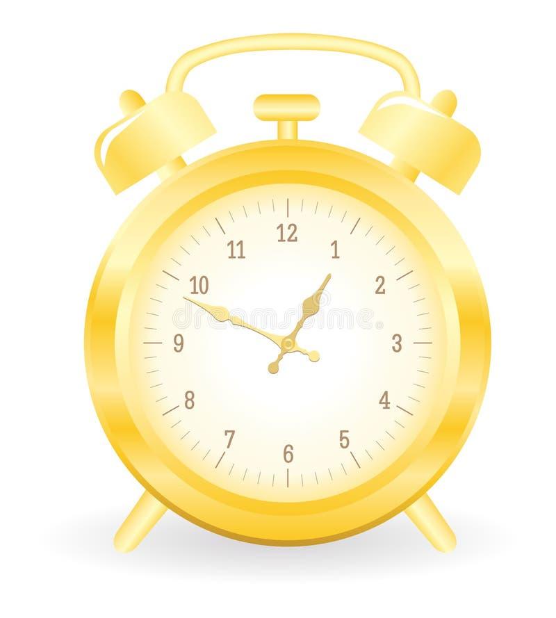 Horloge d'alarme d'or illustration libre de droits