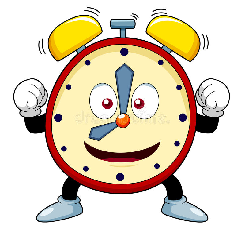 Horloge d'alarme de bande dessinée illustration stock