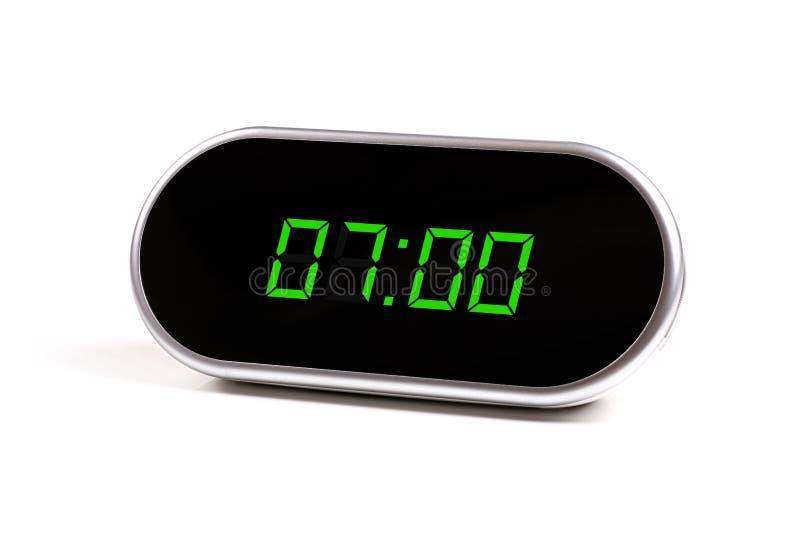 Horloge d'alarme de Digitals avec les chiffres verts photo libre de droits