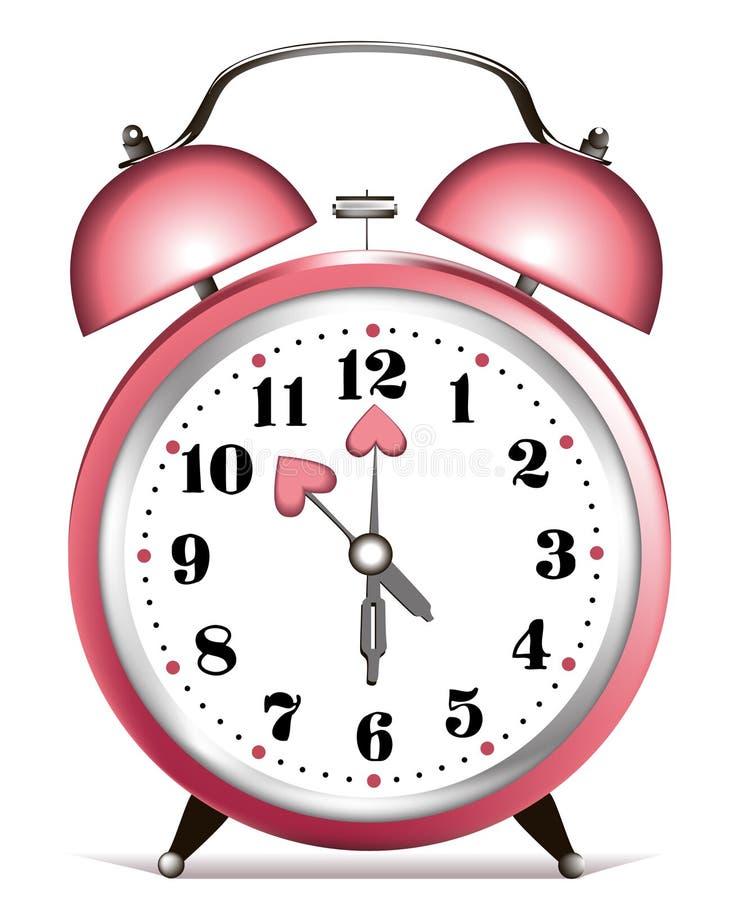 Horloge d'alarme de Valentine illustration stock