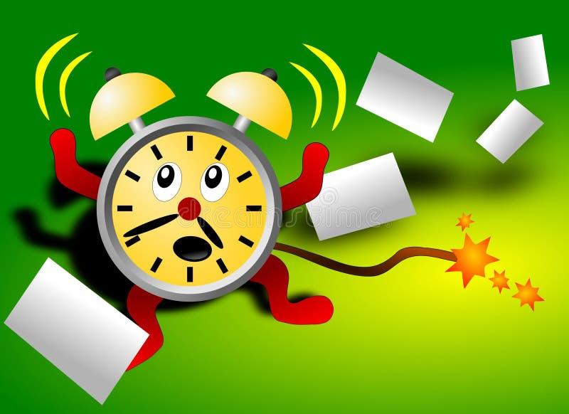 Horloge d'alarme effrayée par date-limite illustration stock