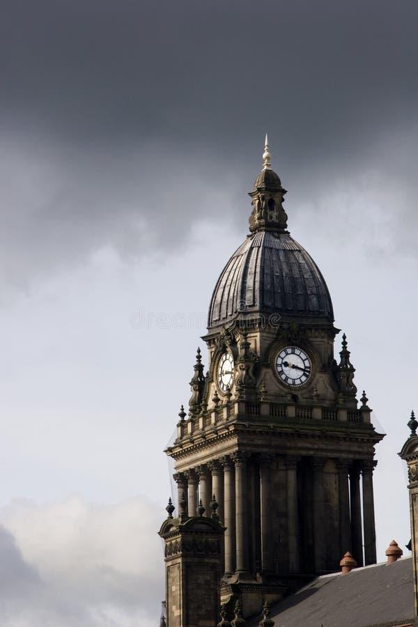 Horloge d'hôtel de ville de Leeds, R-U photographie stock