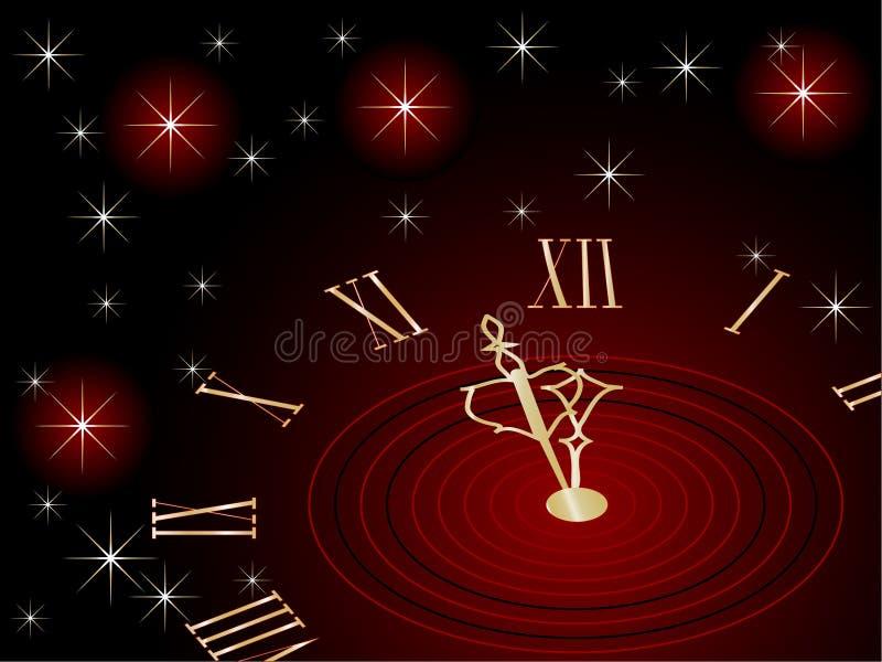 Horloge d'an neuf illustration stock