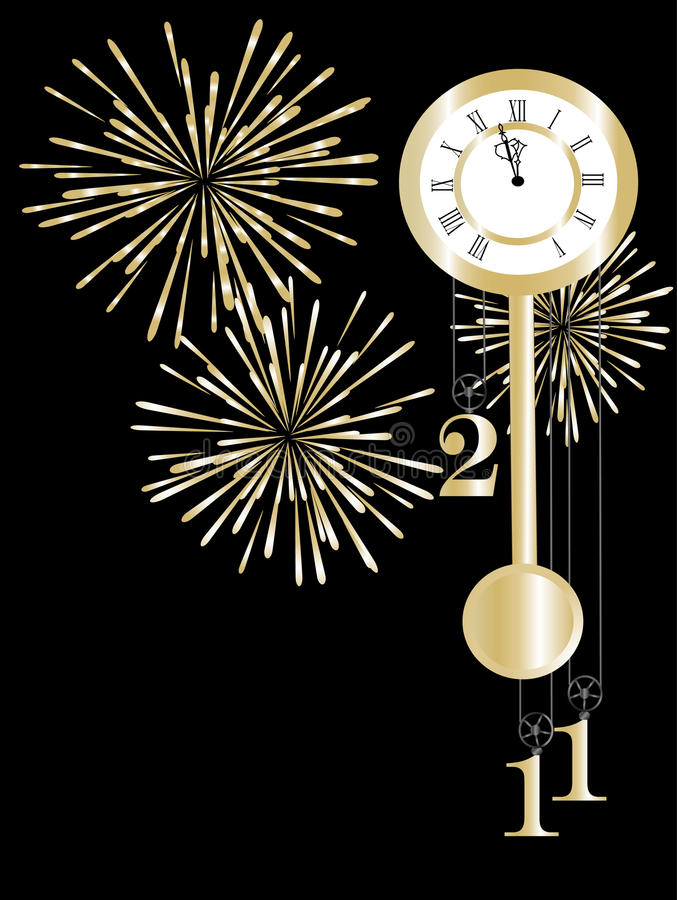 Horloge d'an neuf illustration de vecteur