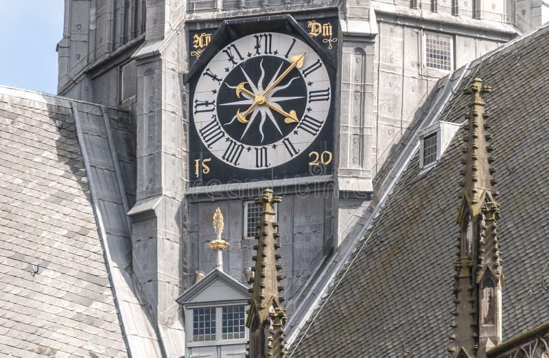 Horloge d'une cathédrale néerlandaise photo libre de droits