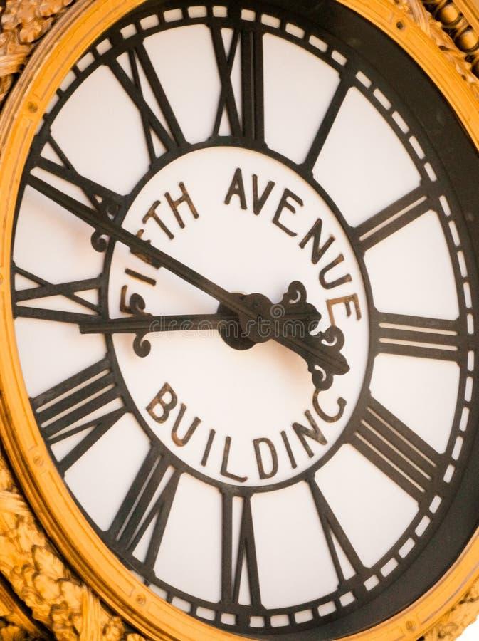 Horloge de bâtiment de Cinquième Avenue photo stock