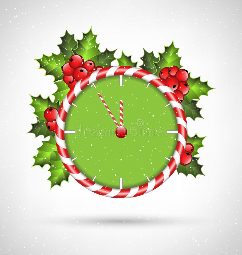 Horloge de canne de sucrerie avec le houx illustration de vecteur