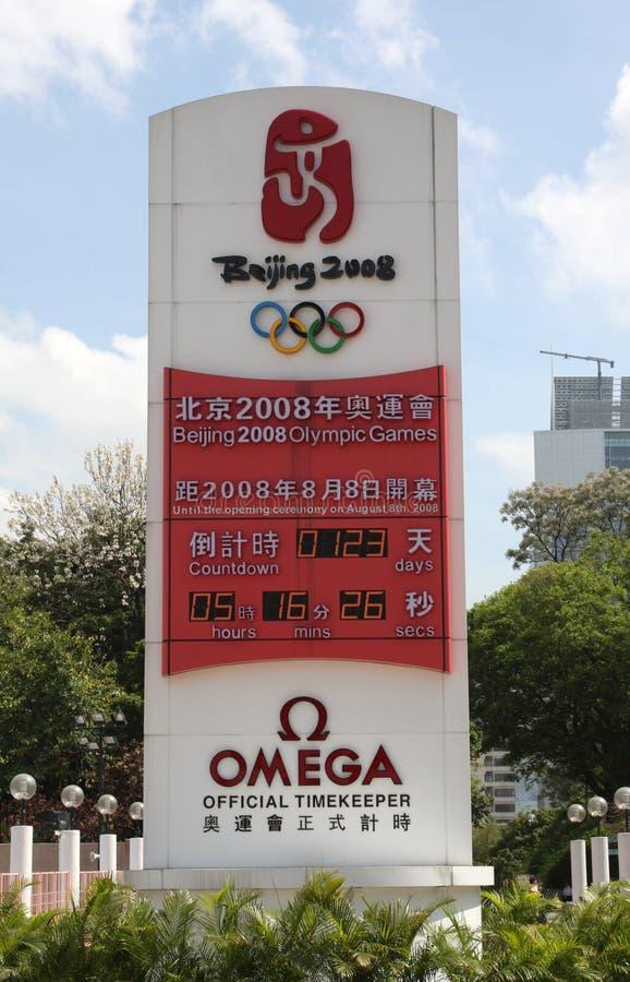 Horloge de compte à rebours de Jeux Olympiques de Pékin photographie stock