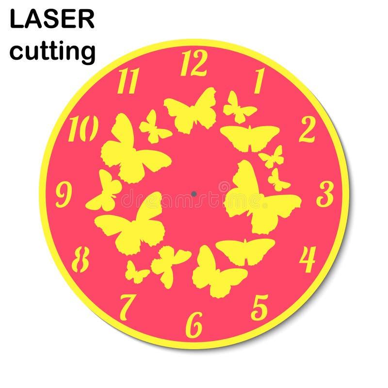 Horloge de coupe de laser avec des papillons pour l'intérieur Découpeuse de laser de calibre pour le bois et le métal illustration stock