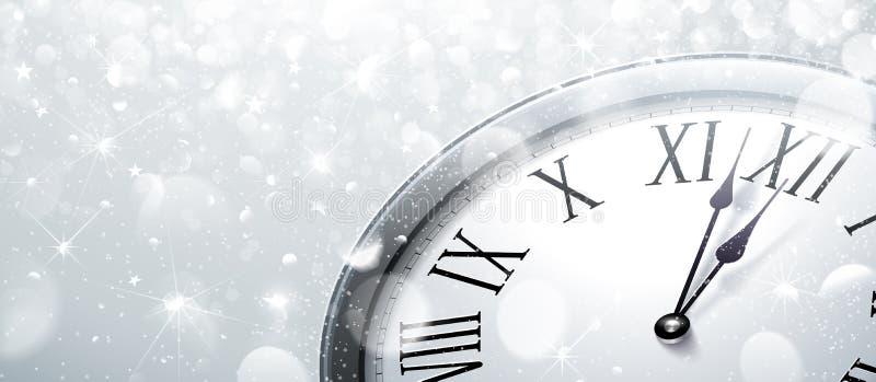 Horloge de douze o la nouvelle année s Ève illustration de vecteur