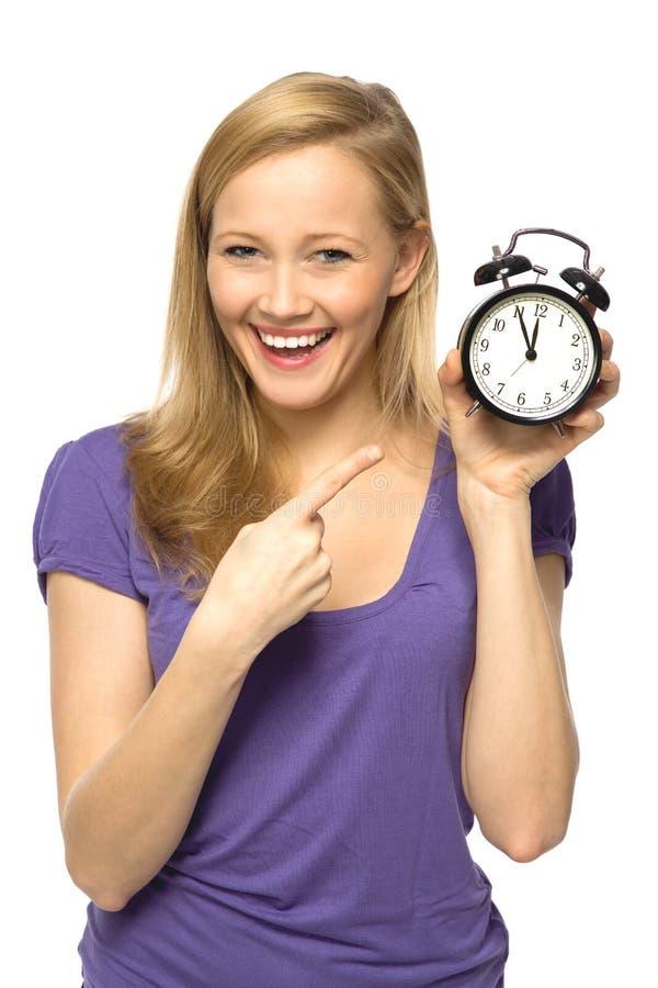 Horloge de fixation de femme image libre de droits