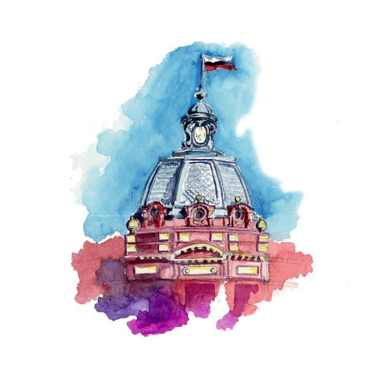 Horloge de flèche de tour de croquis d'aquarelle illustration libre de droits