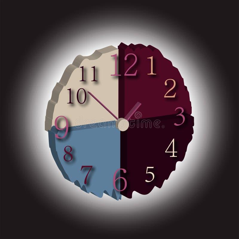 horloge de fond d'isolement au-dessus du blanc de mur le temps consomme illustration de vecteur
