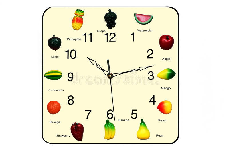 Horloge de fruits photos stock