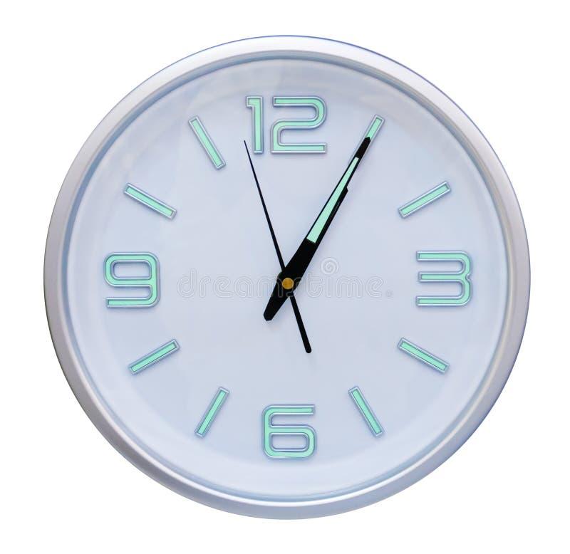 Horloge de mur ronde d'isolement sur le blanc photo libre de droits