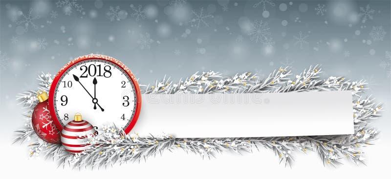 Horloge 2018 de Noël de brindilles congelée par babiole de papier de bannière illustration stock