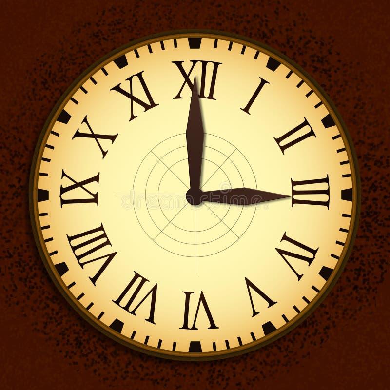 Horloge de vintage avec Roman Letters comme nombres sur le cadran illustration libre de droits