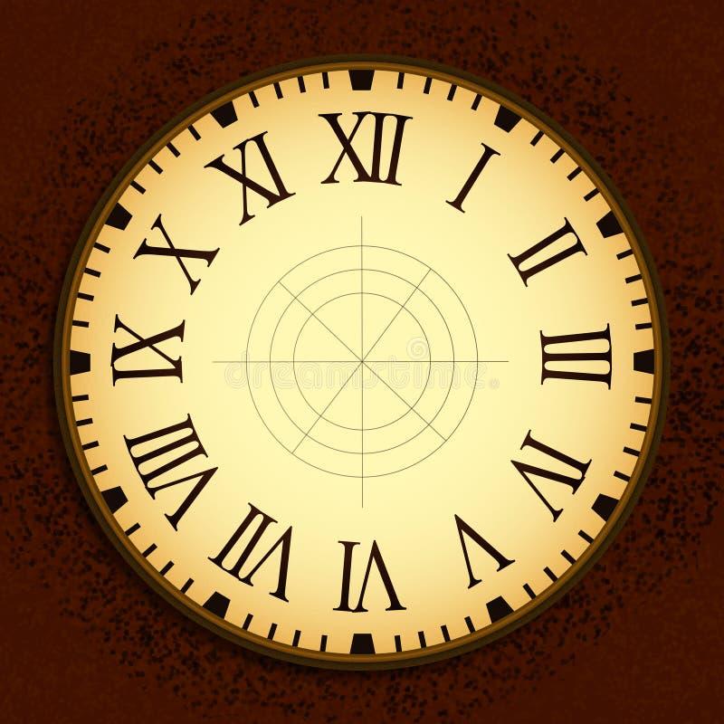 Horloge de vintage avec Roman Letters comme nombres sur le cadran vide illustration de vecteur
