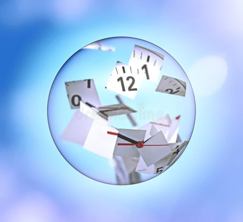 Horloge divisée en morceaux à l'intérieur d'une boule en verre illustration libre de droits