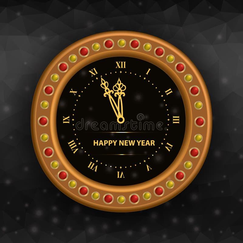 Horloge du ` s Ève de nouvelle année illustration de vecteur