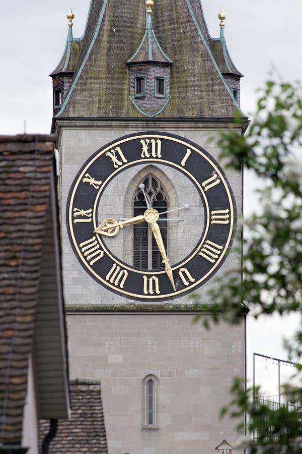 Horloge du St Peter Church à Zurich photo libre de droits
