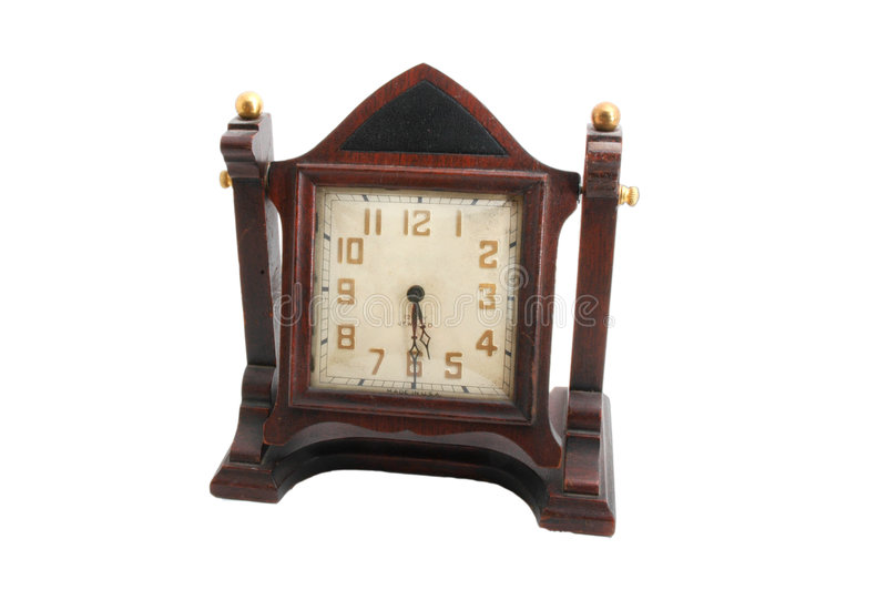 Horloge en bois antique de manteau images stock