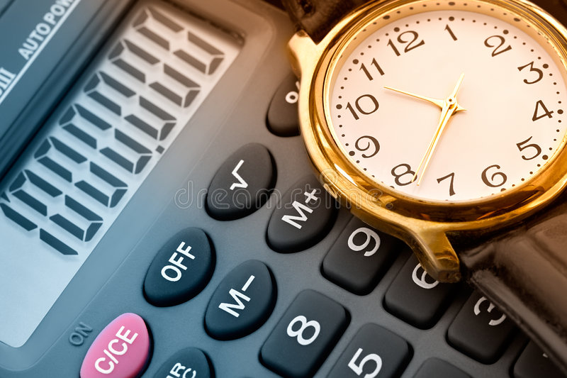 Horloge en calculator stock fotografie