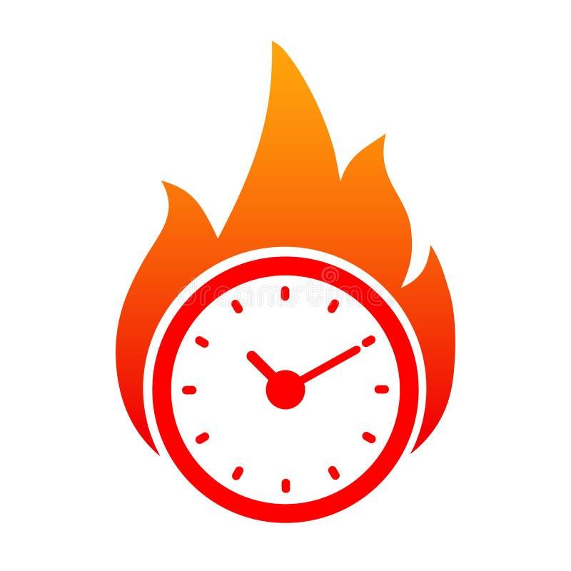 Horloge en incendie Logo de temps illustration libre de droits