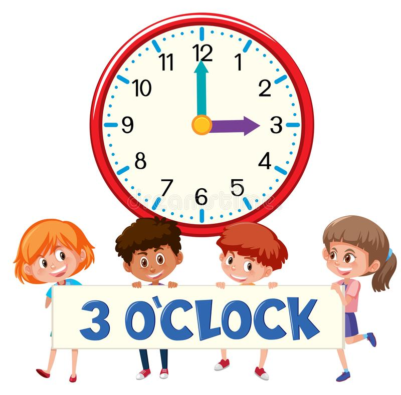 horloge et étudiants de ` de 3 o illustration libre de droits