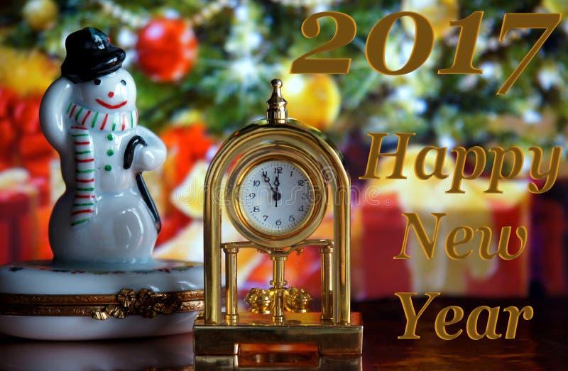 Horloge et bonhomme de neige de vintage photos libres de droits